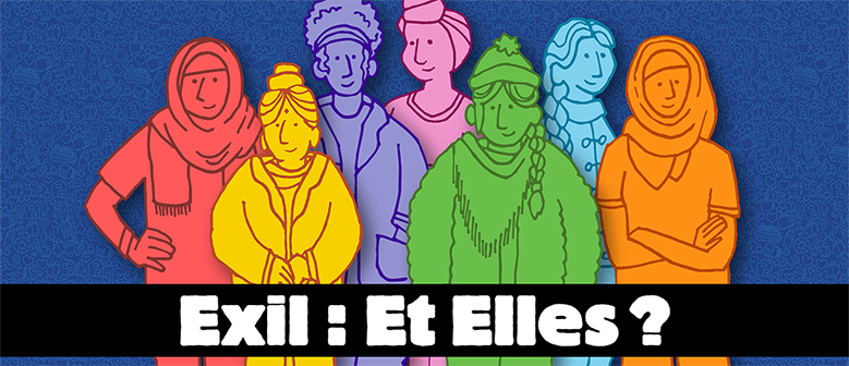 Illustration of women behind a campaign banner